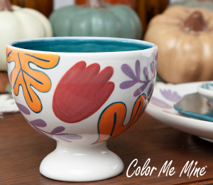 Ridgewood Floral Pedestal Bowl